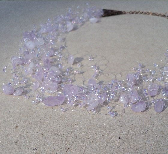 Lavender necklace, Amethyst necklace, Lavender wedding jewelry, Purple bridesmaid gift