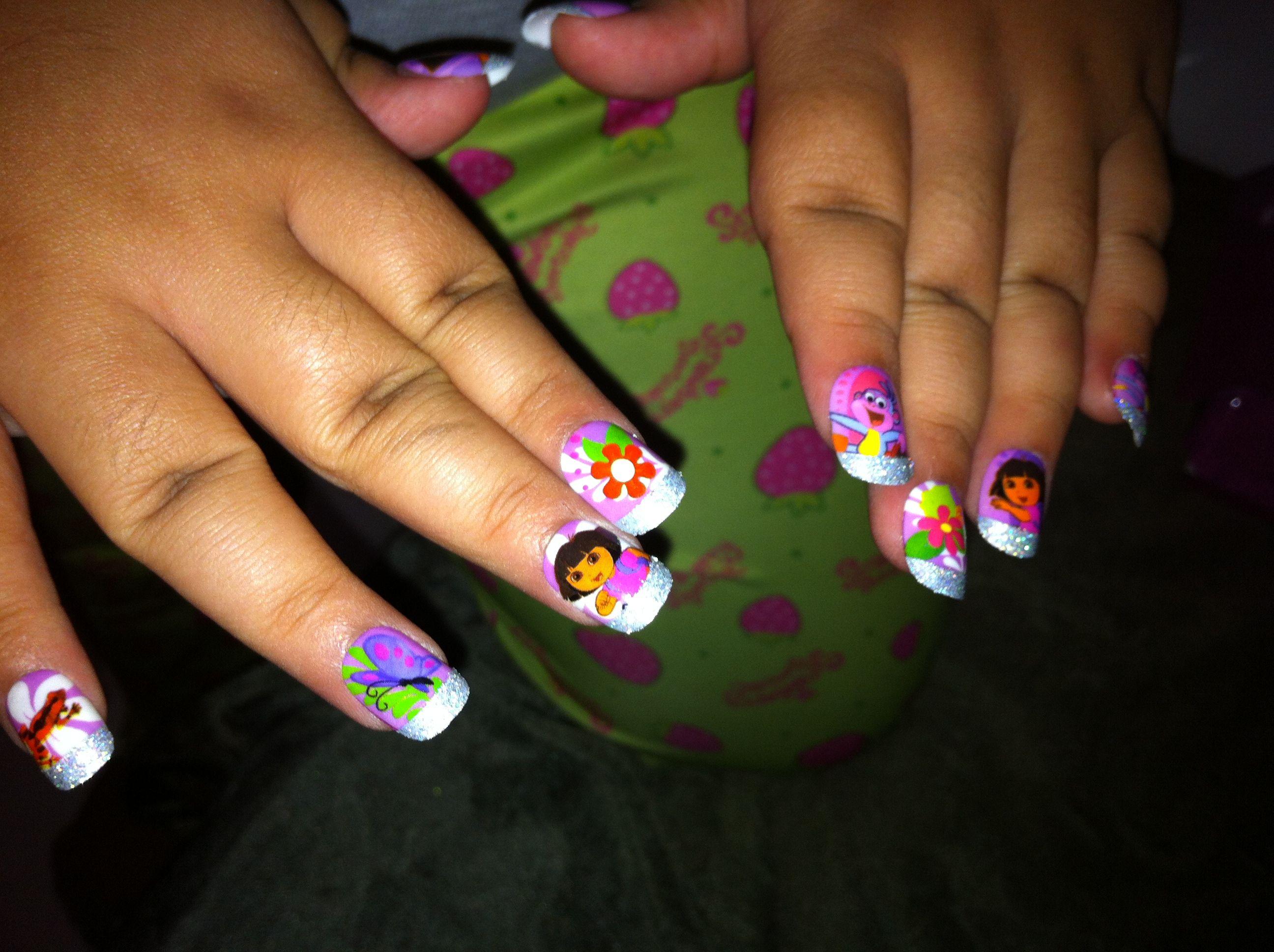 Awesome Dora Nails Nail Art Competition Idea Nails Pinterest