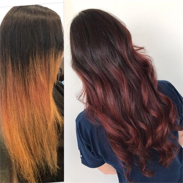 Makeover Faded And Brassy To Burgundy Rose Hair Color Hair