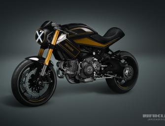 Jakusa Design Monster X Is A Black Gold Ducati Brute Ducati Dreams
