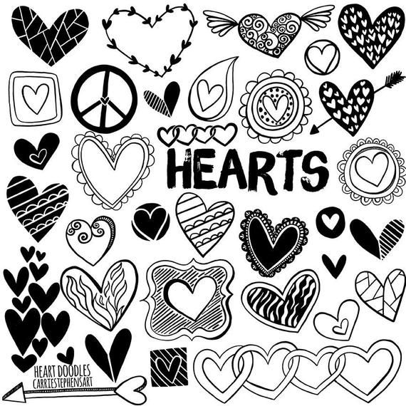 Line Heart Border Clipart Heart Digital Stamps Printable Etsy Heart Doodle Clip Art Borders Doodles