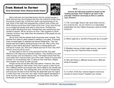 Worksheets Free Fifth Grade Reading Comprehension Worksheets from nomad to farmer running comprehension and 5th grade reading worksheets fifth passages