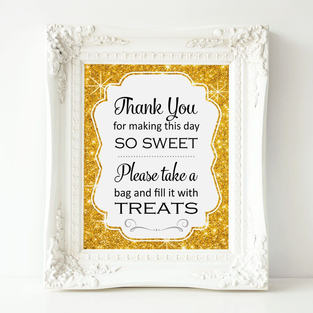 Candy Buffet Sign Gold Printable Bar Sweets Table Bridal Shower Baby Decor