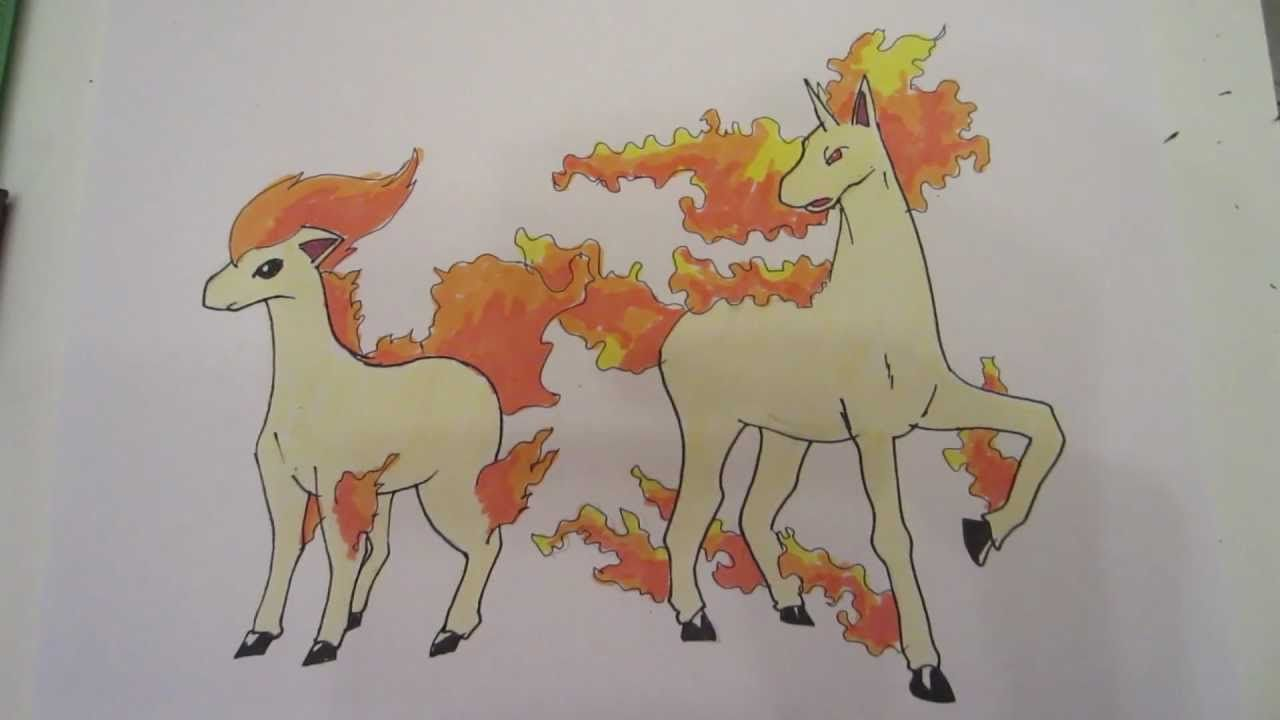 How to draw Pokemon: No.77 Ponyta, No.78 Rapidash