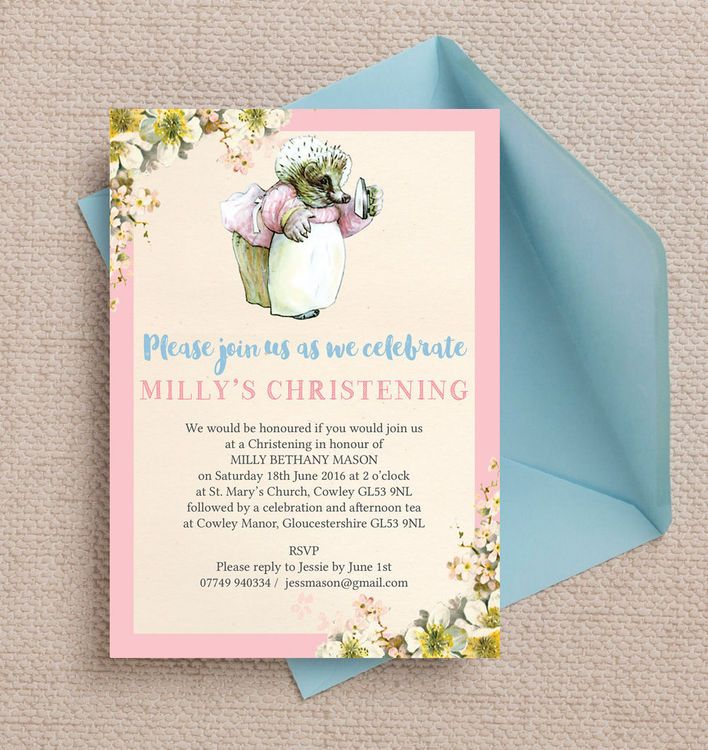 free online christening invitation making%0A Beatrix Potter Mrs Tiggy Winkle Personalised Christening   Baptism  Invitation