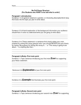 Essay Structure Guidefor Low Level Learners Or Young Writers  Essay Structure Guidefor Low Level Learners Or Young Writers   Teacherspayteacherscom Diy Bead Projects also Example Of A Good Thesis Statement For An Essay English Persuasive Essay Topics