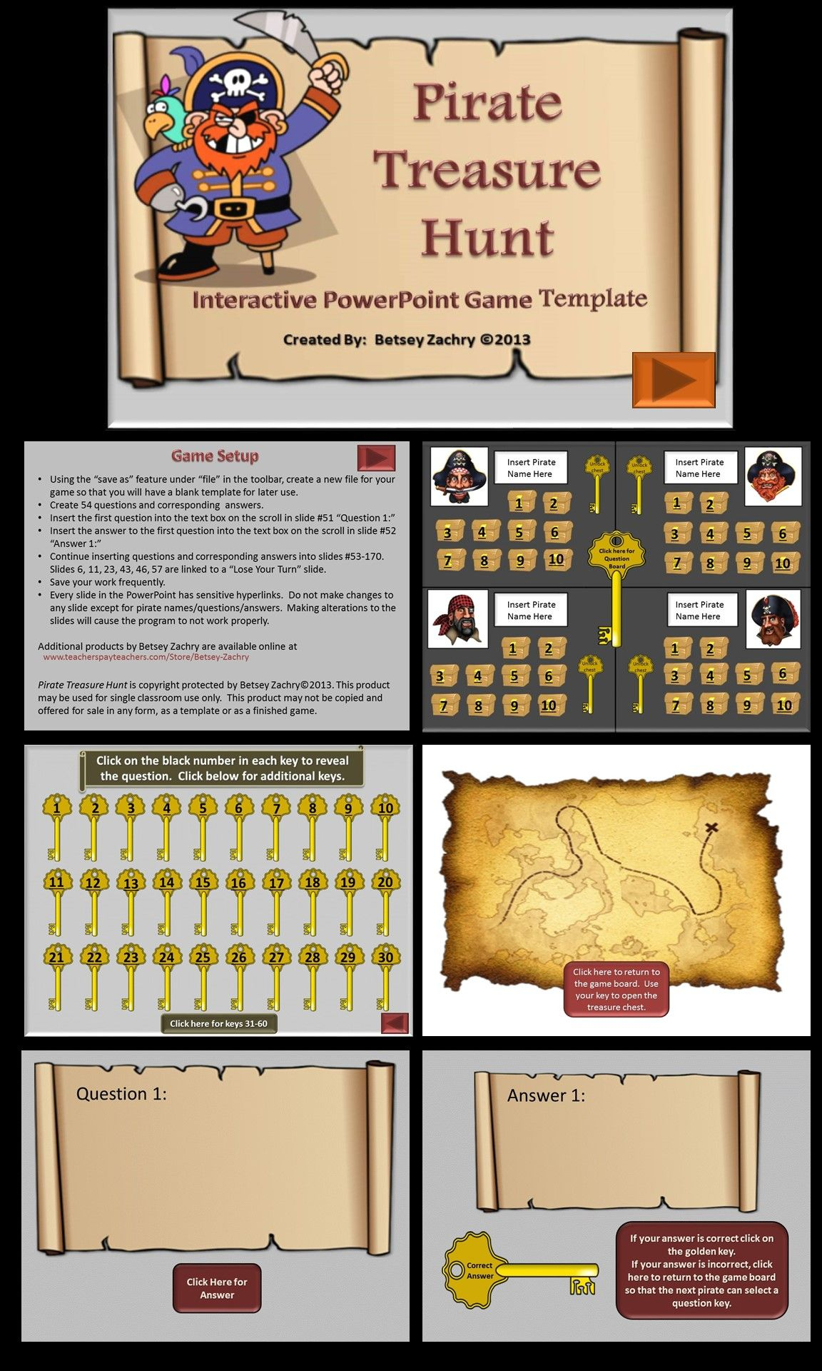 Pirate treasure hunt powerpoint game template pirate treasure super fun way to review available online from tpt for 500 toneelgroepblik Images