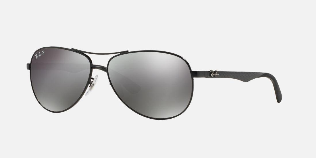 Ray-Ban RB8313 61 CARBON FIBRE 61 Grey & Black Polarised Sunglasses | Sunglass Hut United Kingdom