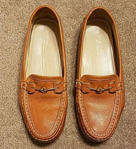 Cole Haan Womens Size 7 Cream Tan Gold Slide On Loafers Flats Shoes