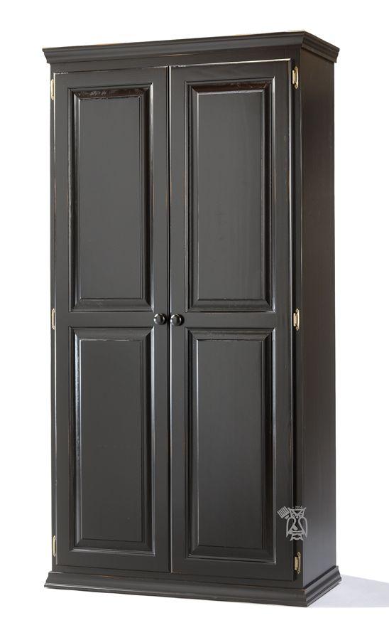 Solid Pine Wood 2 Door Tall Storage Cabinet Shown In Worn Black