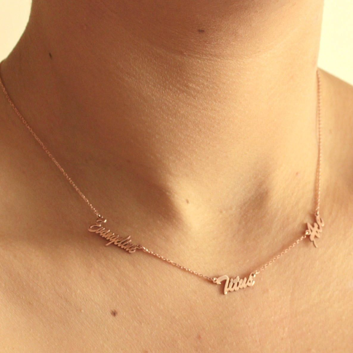 14k Rose Gold Sideways Necklace Three Names Necklace Personalized Name Necklace Sideways Sideways Initial Necklace Monogram Necklace Gold Sideways Necklace