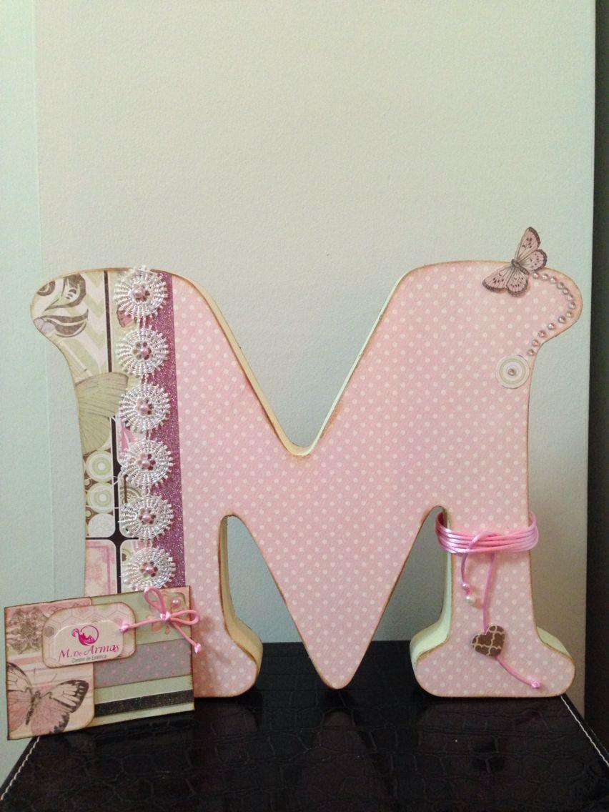 Letra de madera decorada con scrap letras 3d decoradas pinterest letras de madera - Letras decoradas scrap ...