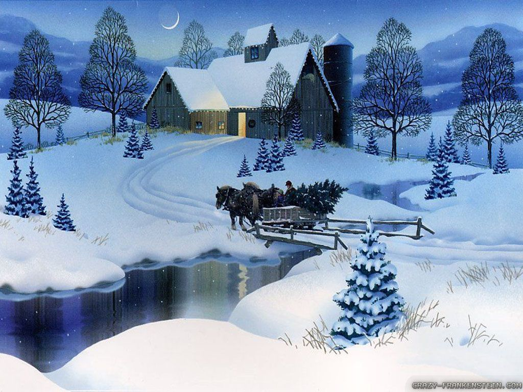 christmas scene pictures free | Village Scene Winter Christmas Wallpapers | WallPixy