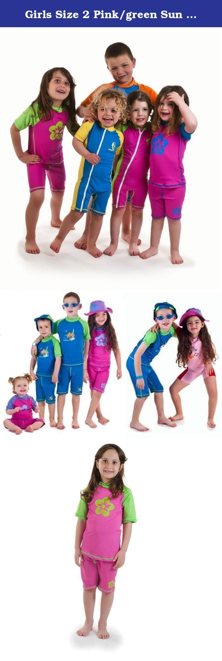 Girls Size 2 Pink//green Sun Uv Protective Rashguard /& Shorts Age 2 Years Old