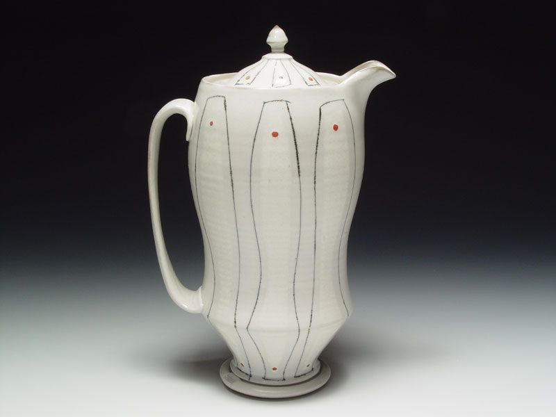 Lidded pitcher with red dots  Cone 10 Porcelain, thrown & altered, soda fired, 11 x 7.25 x 4.25 Inches