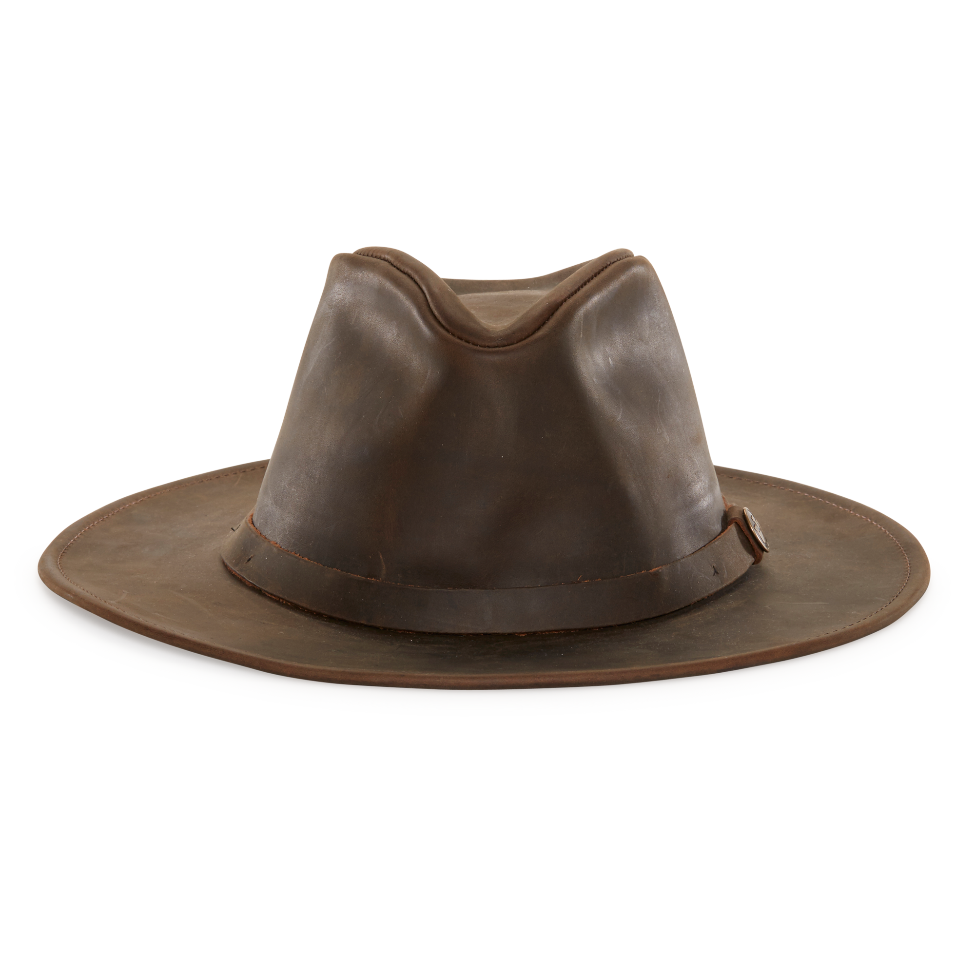 b49839f000417e North Fork leather wide brim fedora Men's hat with 2 1/2