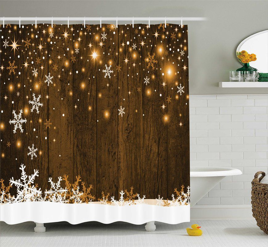 Bonanno Wood And Snowflakes Single Shower Curtain Christmas Shower Curtains Wooden Backdrops Rustic Curtains