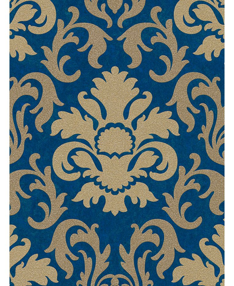 This Carat Damask Glitter Wallpaper in gold and blue