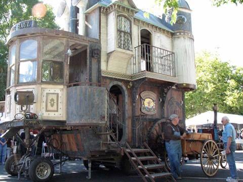 Steampunk Victorian-era house on wheels