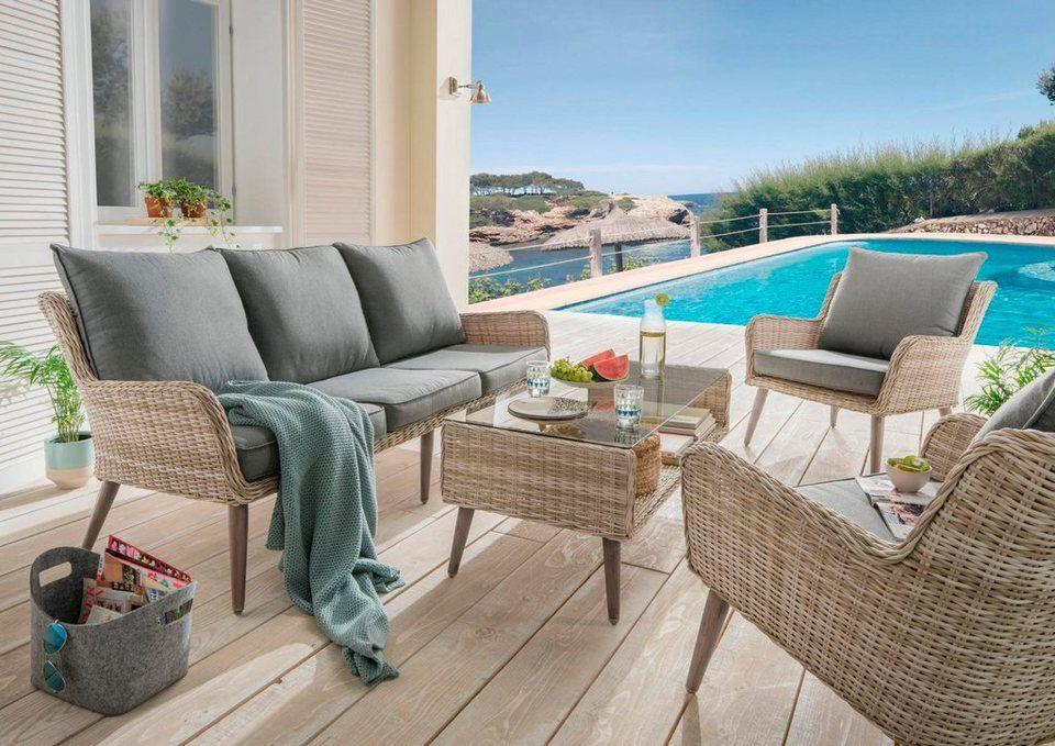 Destiny Loungeset Cortez 14 Tlg 3er Sofa 2 Sessel Tisch