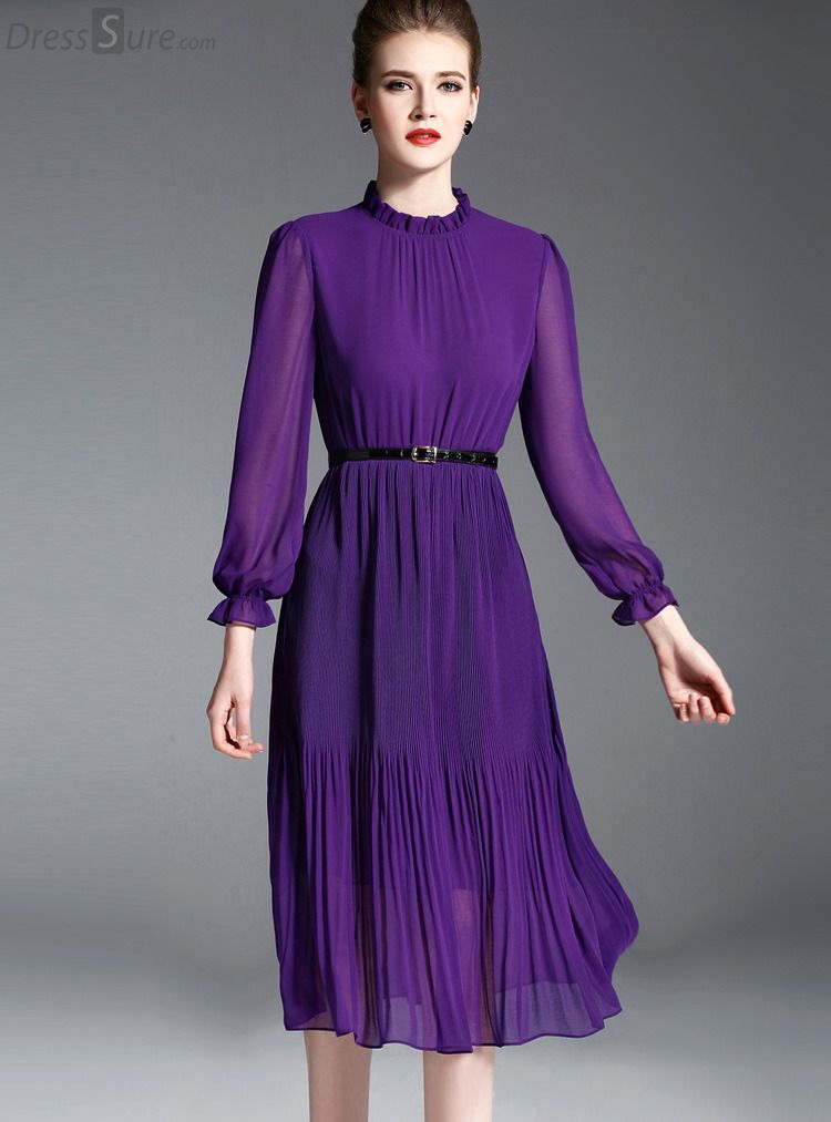 657acbdebd Buy Elegant Chiffon Stand Collar Long Sleeve Purple Pleated Skater Dress  Without Belt with High Quality and Lovely Service at DressSure.com