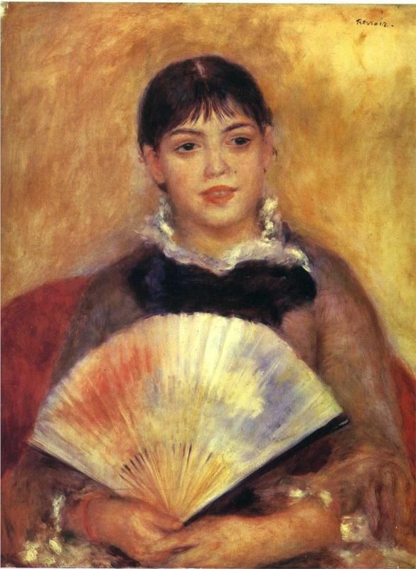 Girl with a Fan ( Alphonsine Fournaise), 1880  Pierre-Auguste Renoir
