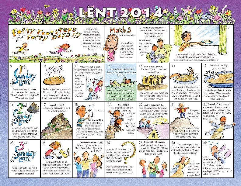Lent Calendar For Kids 2014 2014 Lent Calendar For Children