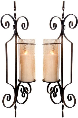 Set of 2 Large Gold Hurricane Wall Sconces Candle Holders, 26-inch Metal u0026