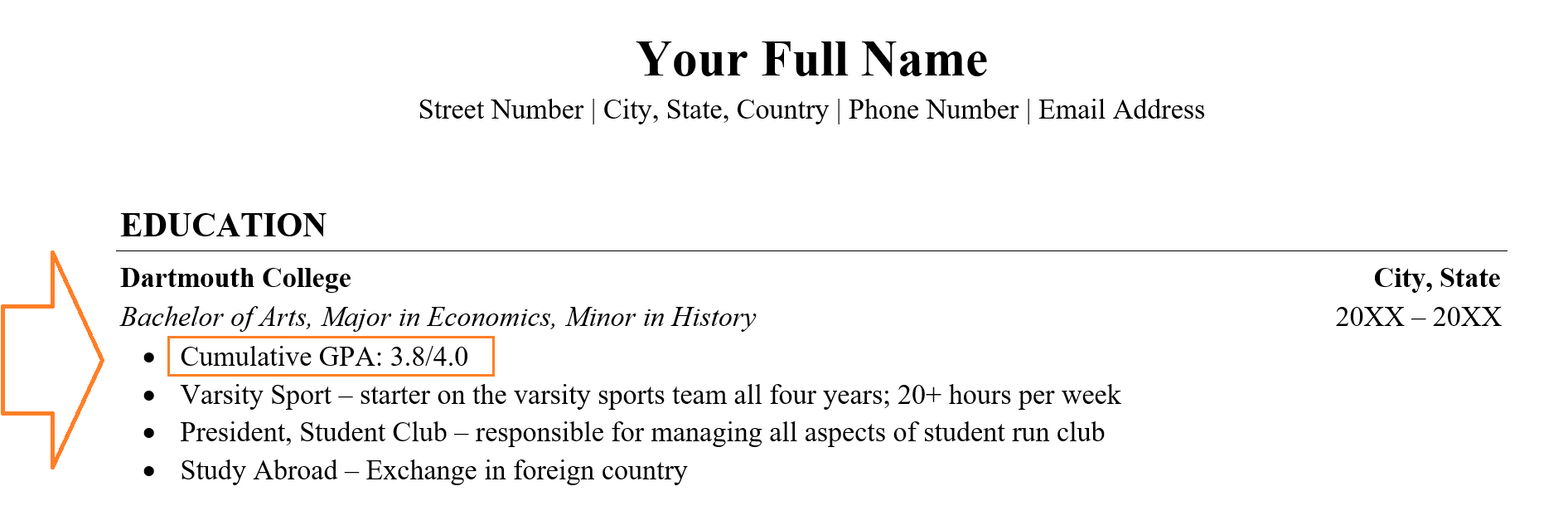Example on how to make a resume
