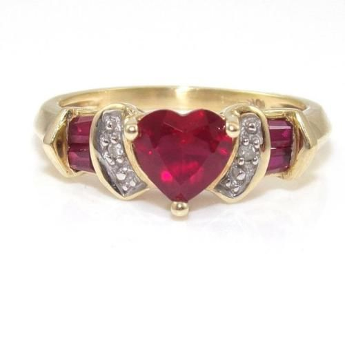 jewelry 10K Yellow Gold Natural Diamond Pink Ruby Heart Ring Size