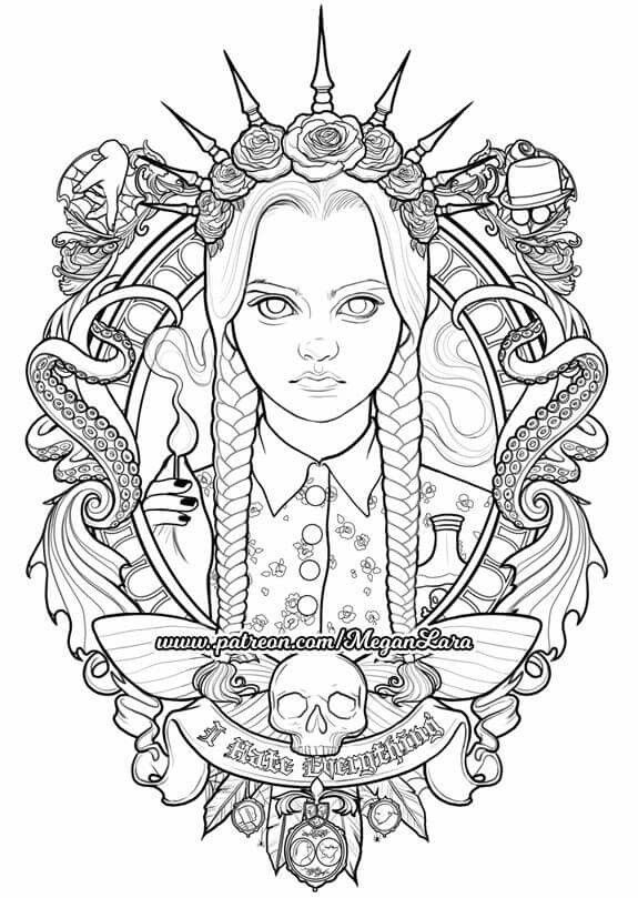 Wednesday Tattoo Coloring Book Cute Coloring Pages Coloring Books