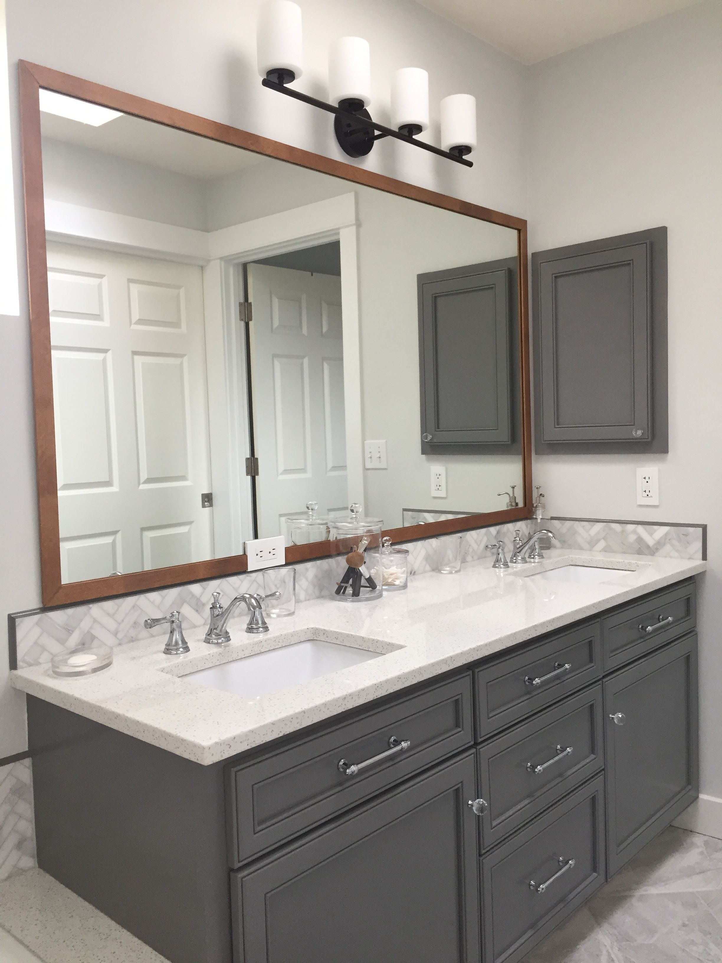 My Diy Wood Frame Bathroom Mirror Modern Farmhouse Bathroom Used Double Sided Clea Farmhouse Style Bathroom Vanity Wood Mirror Bathroom Bathroom Mirror Frame