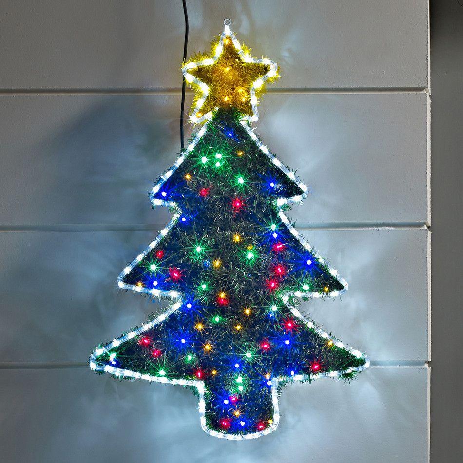 Tinsel christmas tree led rope light silhouette lighting tinsel christmas tree led rope light silhouette outdoor rope lightsled mozeypictures Choice Image