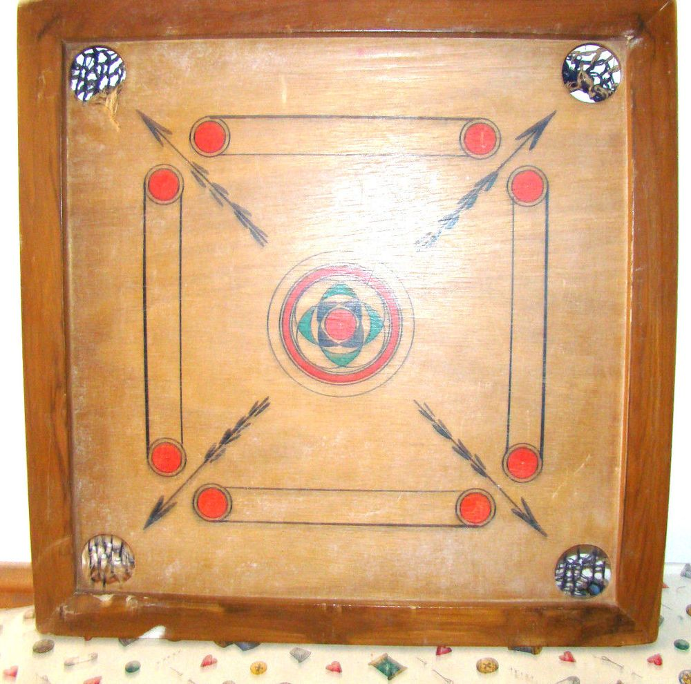 ART DECO STYLE ANTIQUE VINTAGE CAROM CARROM WOOD BOARD GAME TOY WALL ...