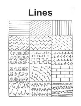 A hand-drawn handout filled with many interesting lines to inspire art students of all ages! #artprojects