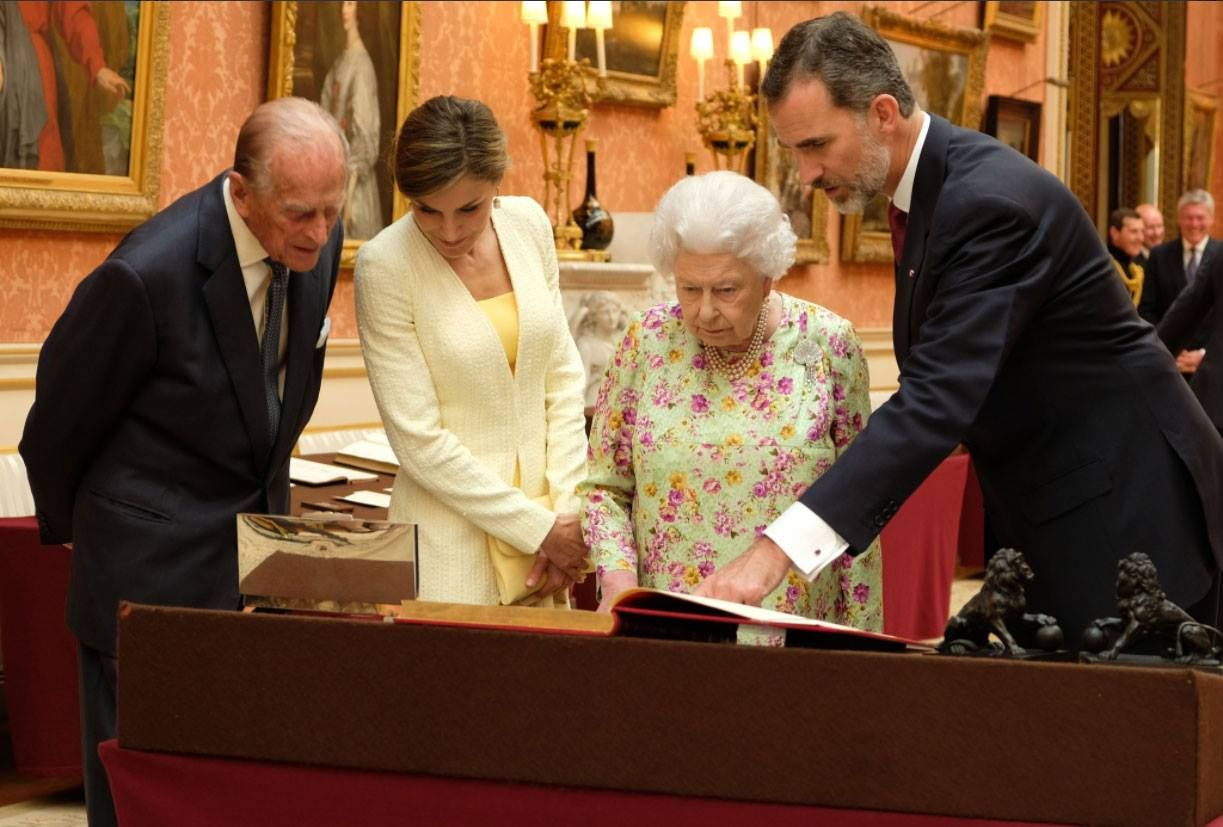 The Queen and the Duke of Edinburgh with the King and Queen of Spain