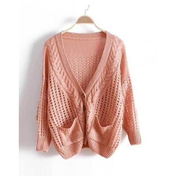 Pink V Neck Bat Loose Sweater ($40) via Polyvore
