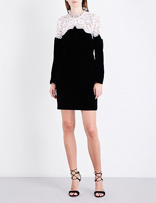 Sandro Floral Lace Velvet Dress Aw Research Dresses