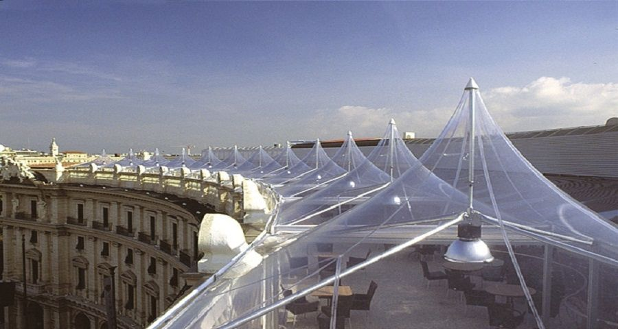 Metal Frame Supported Tensile Structure With Pvc