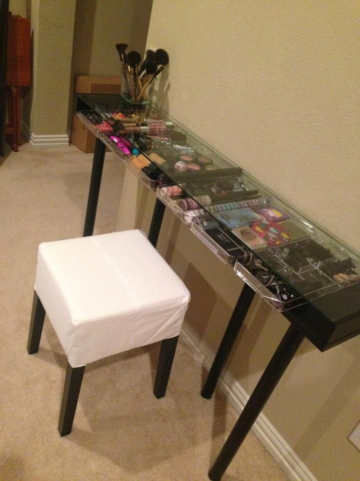 My makeup vanity made from a shelf and legs from IKEA. #diy #makeup - DIY Glass Top Makeup Vanity Desk Organizing, Makeup Vanity Desk