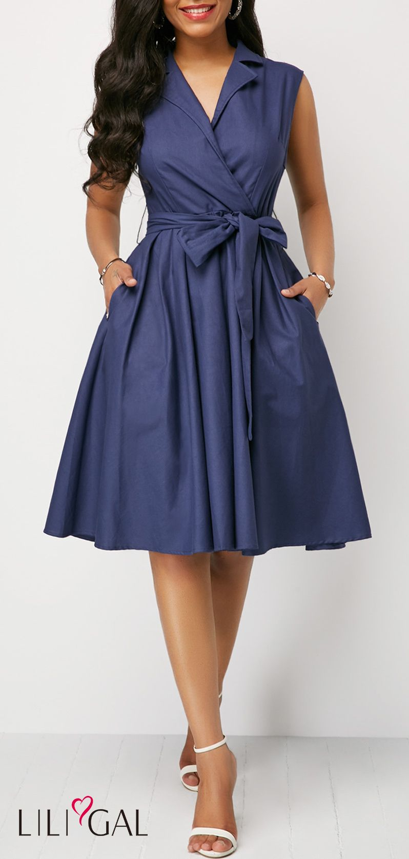 50e418ab36 Sleeveless Belted V Neck Navy Blue Dress #liligal #dresses #womenswear # womensfashion