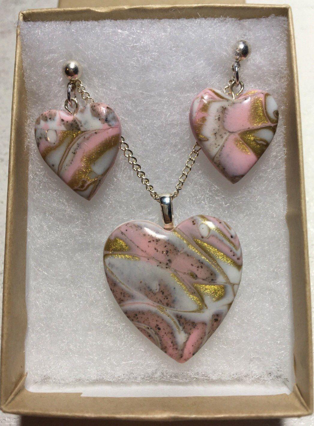 Pink heart heart jewelleryheart necklace mokume gane polymer