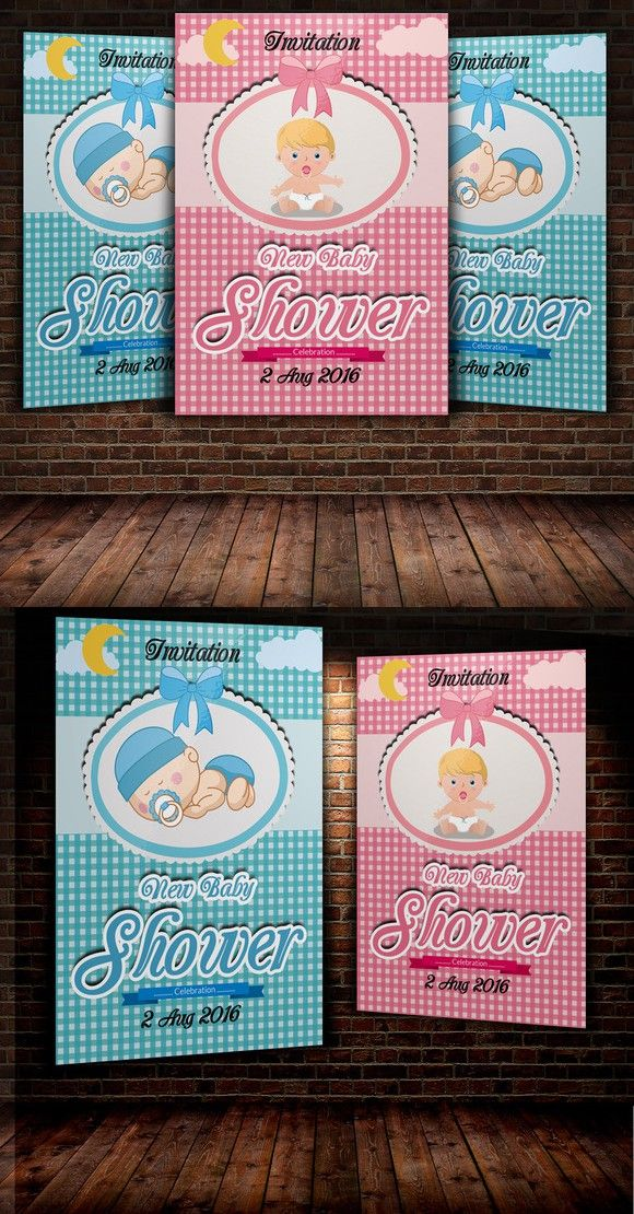 Boy & Girl Baby Shower Invitation Te. Flyer Templates. $6.00