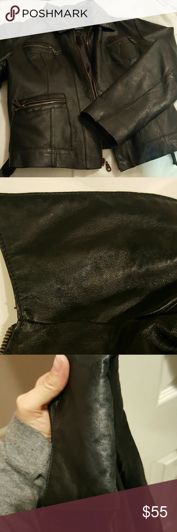 Black leather jacket Used black leather jacket shell 100% leather some visible wear on the collar where it folds over uhc collections Jackets & Coats Utility Jackets
