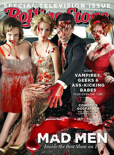 RollingStone / Controversial 'Rolling Stone' covers 'Rolling Stone' never shies away from controversy, especially on the front cover. Here are a few of the magazine's covers that have created a stir. The cast of 'Mad Men' get bloody on the cover of Rolling Stone magazine for a special television issue.