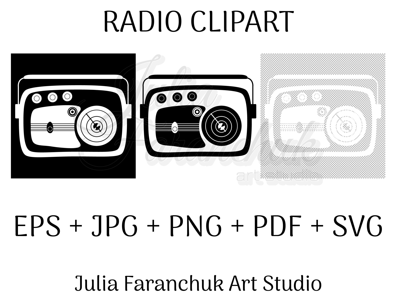 Radio Retro Style Positive And Negative Black And White Etsy Retro Fashion Clip Art Digital Goods