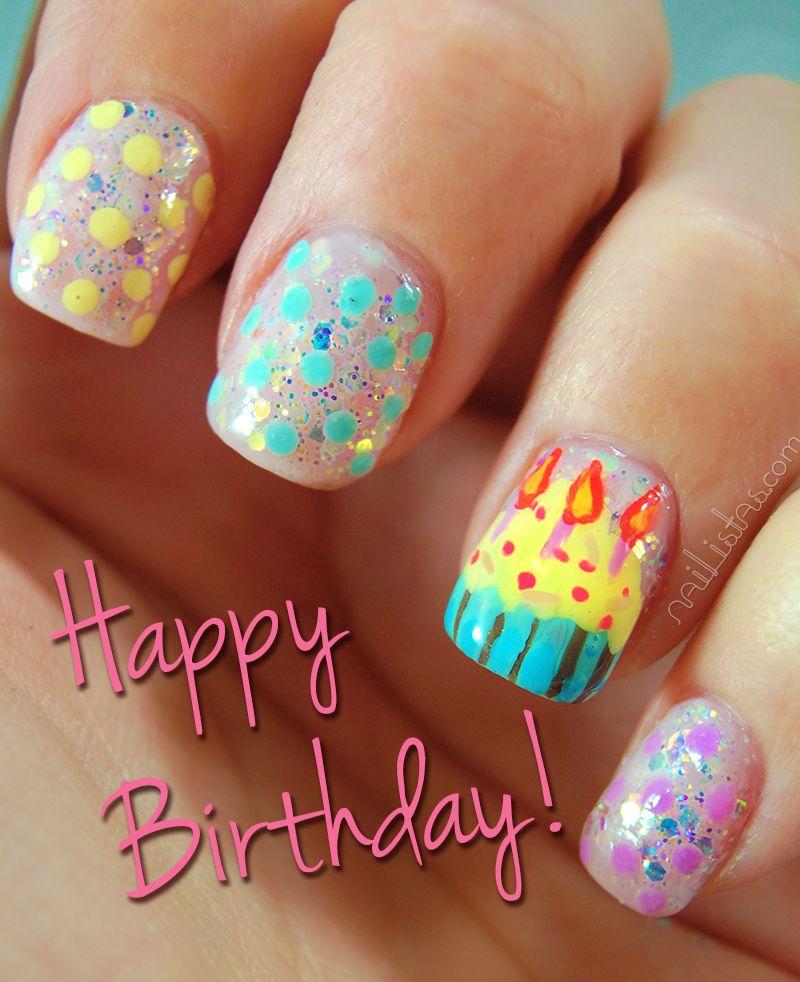 Birthday Fingernail Cake: Happy Birhtday Postcard. Birthday Cake And Candles Nail