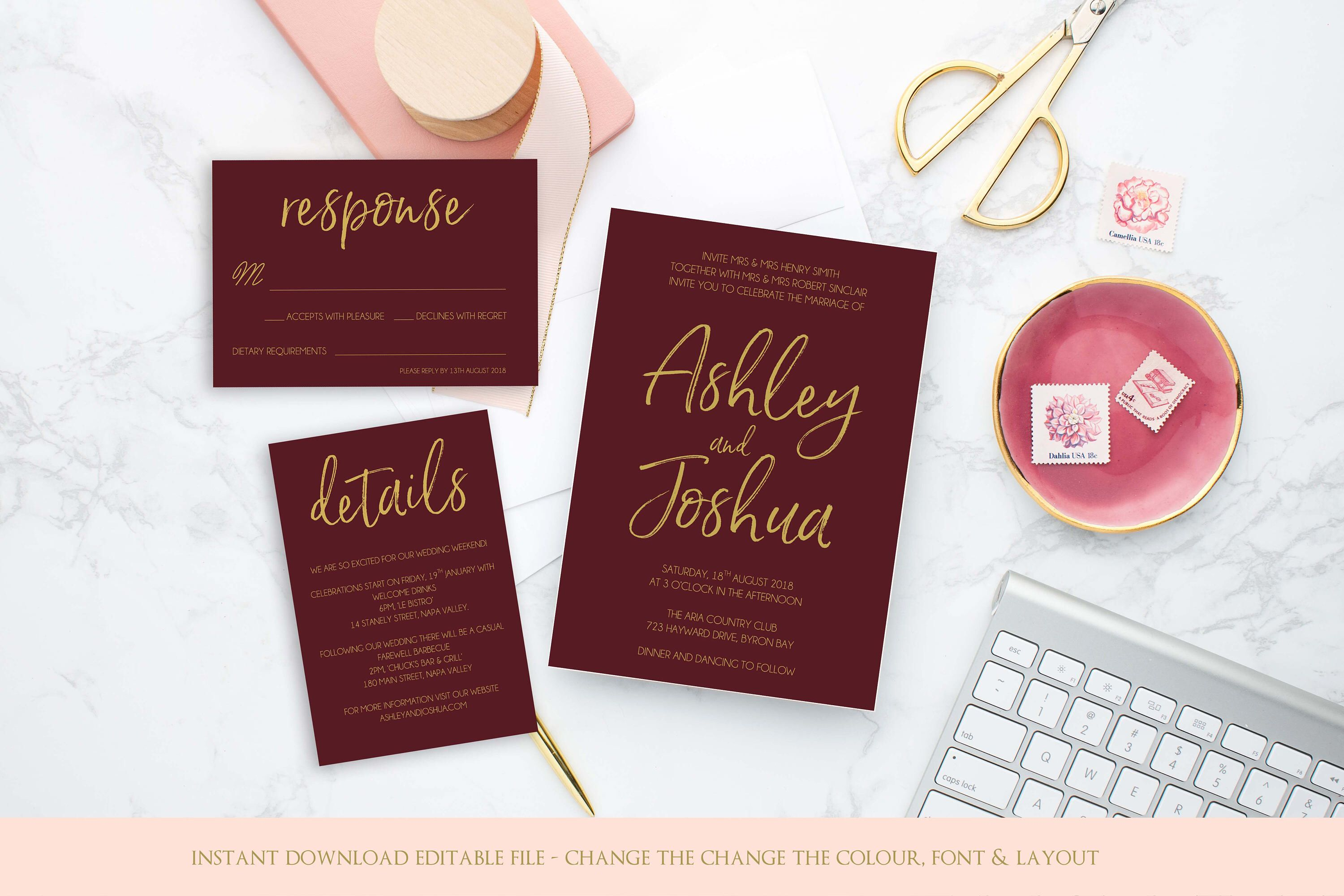 Burgundy and gold printable wedding invitation template, instant ...