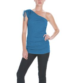 Multi-shirred seams make this one shoulder top complement every figure