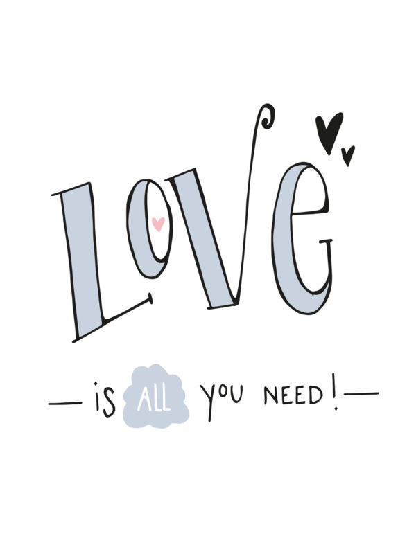 Ansichtkaart Love Is All You Need Ansichtkaart Met Quote Love Is All You Need Ansichtkaart Brief Woorden Citaten